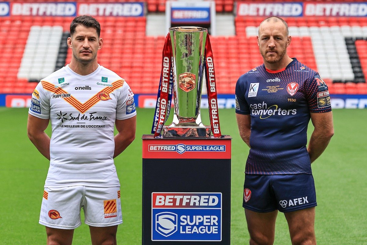 Ben Garcia of Catalans and St Helens captain James Roby