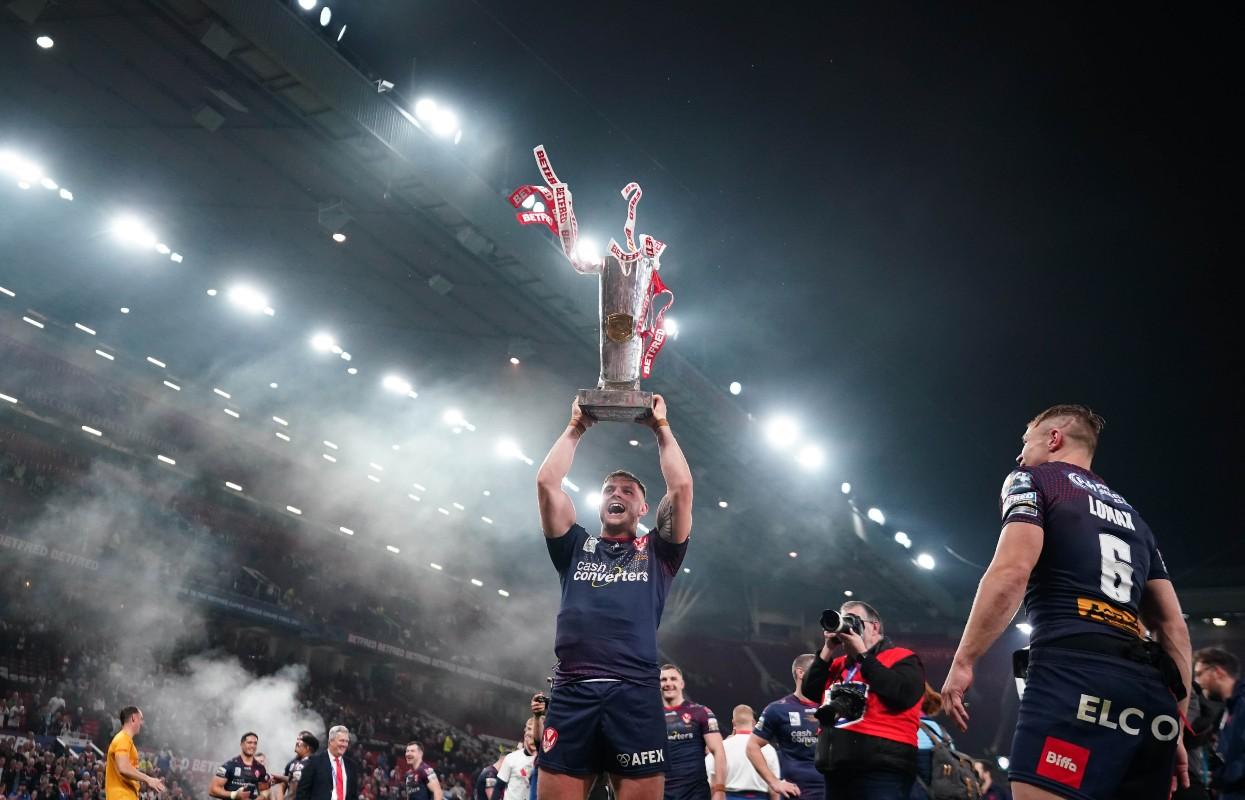 Morgan Knowles celebrates St Helens Grand Final triumph